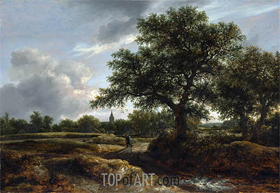 Landscape with a Village in the Distance, 1646 | Ruisdael| Painting Reproduction