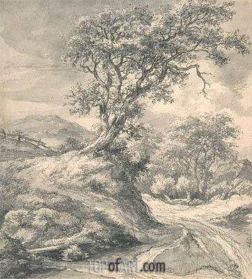 Dune Landscape with Oak Tree, c.1650/55 | Ruisdael | Painting Reproduction