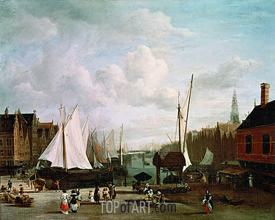 Harbour with Sailing Boats and Market Stalls, c.1660 | Ruisdael| Gemälde Reproduktion