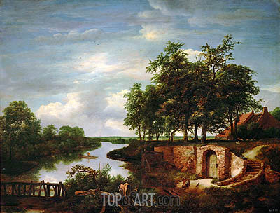 River Landscape and Entrance to a Cellar, 1649 | Ruisdael | Painting Reproduction