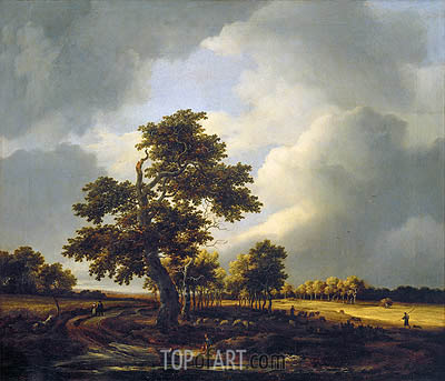 Landscape with Shepherds and Peasants (After the Storm), c.1660/70 | Ruisdael| Gemälde Reproduktion