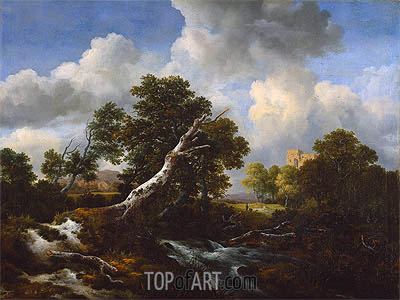 Landscape with a Dead Tree, c.1660/70 | Ruisdael | Painting Reproduction