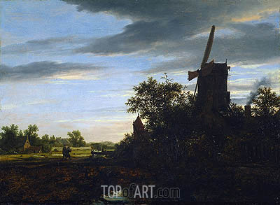 A Windmill near Fields, 1646 | Ruisdael | Painting Reproduction