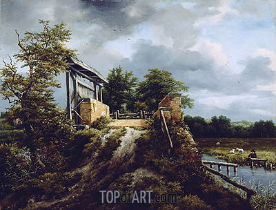Bridge with a Sluice, c.1648/49 | Ruisdael| Gemälde Reproduktion