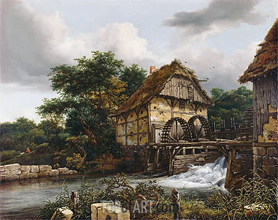 Two Watermills and an Open Sluice, 1653 | Ruisdael| Painting Reproduction