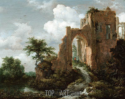 Entrance Gate of the Castle of Brederode, c.1655 | Ruisdael | Painting Reproduction