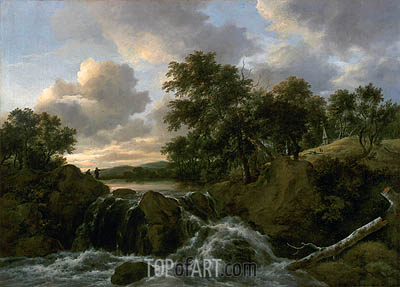 Landscape with a Waterfall, undated | Ruisdael| Painting Reproduction