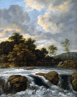 Landscape with Waterfall, c.1665 | Ruisdael | Painting Reproduction