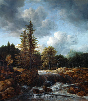 Landscape with Waterfall, c.1660/70 | Ruisdael| Gemälde Reproduktion