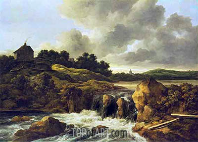 Landscape with Waterfall, c.1670 | Ruisdael| Gemälde Reproduktion