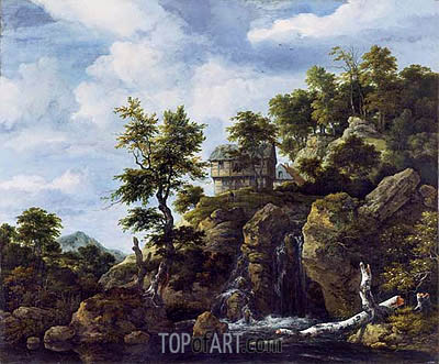 Rocky Landscape, c.1650 | Ruisdael | Gemälde Reproduktion