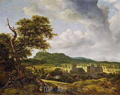 Landscape with a Village, c.1650/55 | Ruisdael | Painting Reproduction