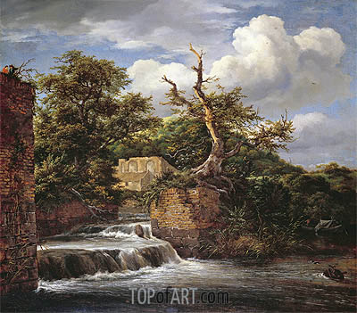A Wooded Landscape with Mill, undated | Ruisdael | Gemälde Reproduktion