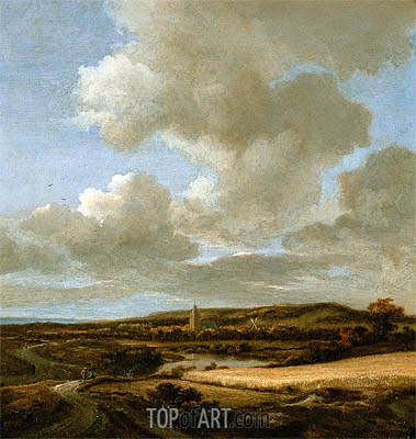 Landscape with Cornfield, c.1660/69 | Ruisdael | Painting Reproduction