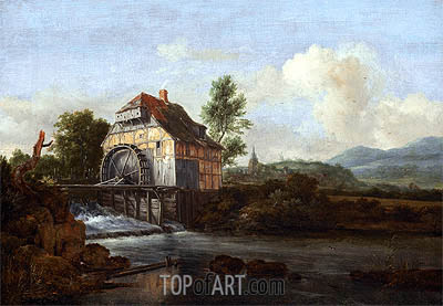 Landscape with a Watermill, c.1680 | Ruisdael | Painting Reproduction