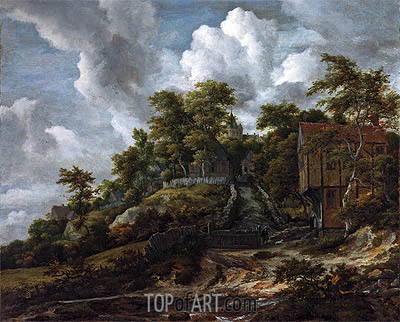 Wooded Hillside with a View of Bentheim Castle, c.1655/60 | Ruisdael | Painting Reproduction