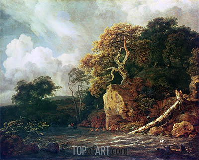Landscape with a River, undated | Ruisdael | Gemälde Reproduktion