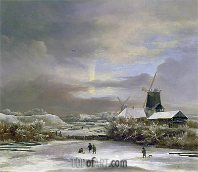 Winter Landscape, undated | Ruisdael| Painting Reproduction