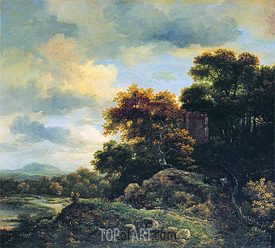 Landscape with Wooded Hillock , undated | Ruisdael | Painting Reproduction