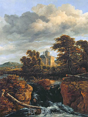 Landscape with a Waterfall and Castle, c.1670 | Ruisdael | Gemälde Reproduktion