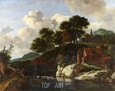 Hilly Landscape with a Watermill, c.1670 | Ruisdael| Painting Reproduction