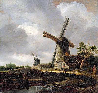 Landscape with Windmills near Haarlem, c.1650/52 | Ruisdael | Painting Reproduction