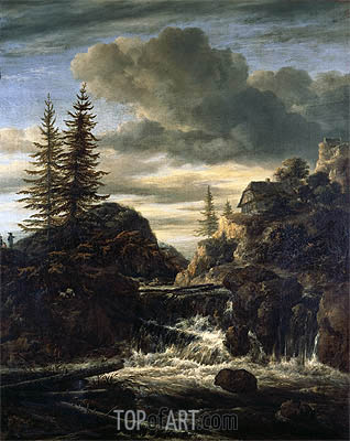 A Norwegian Landscape with a Cascade Waterfall, undated | Ruisdael | Painting Reproduction