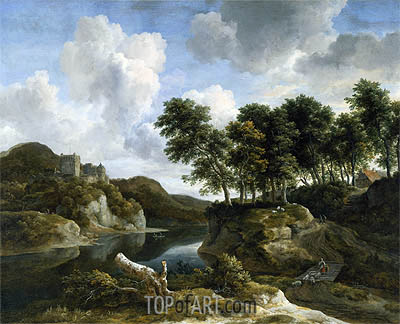 River Landscape with a Castle on a High Cliff, c.1670 | Ruisdael | Painting Reproduction