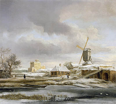 Ruisdael | A Winter Landscape with a Frozen Canal and a Windmill, undated