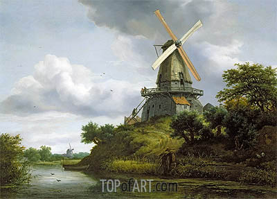 Windmill by a River, undated | Ruisdael | Gemälde Reproduktion