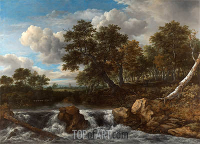 Landscape with Waterfall, c.1668 | Ruisdael | Gemälde Reproduktion