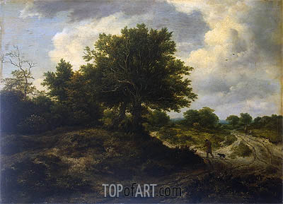 Landscape with a Traveller, c.1650 | Ruisdael | Painting Reproduction