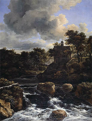 Mountainous Landscape with Waterfall, c.1660/65 | Ruisdael| Painting Reproduction