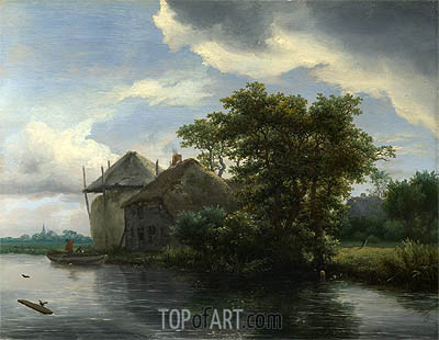 A Cottage and a Hayrick by a River, c.1646/50 | Ruisdael | Gemälde Reproduktion