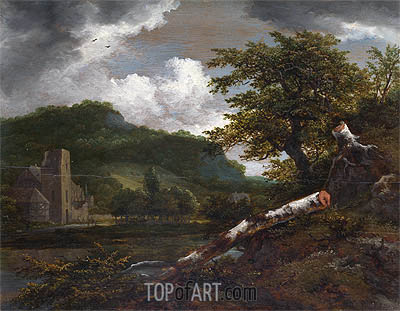 A Landscape with a Ruined Building, c.1655 | Ruisdael | Painting Reproduction