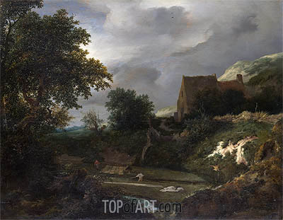 A Bleaching Ground in a Hollow by a Cottage, c.1645/50 | Ruisdael | Gemälde Reproduktion