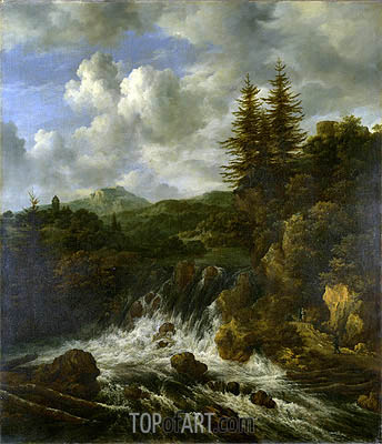 Ruisdael | A Landscape with a Waterfall and a Castle on a Hill, c.1660/70