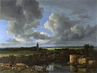 A Landscape with a Ruined Castle and a Church, c.1665/70 | Ruisdael | Painting Reproduction