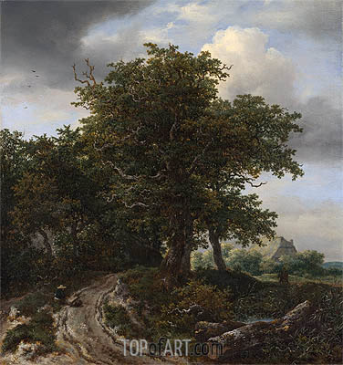 A Road Winding between Trees towards a Distant Cottage, c.1645/50 | Ruisdael | Painting Reproduction
