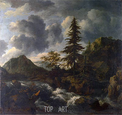 A Torrent in a Mountainous Landscape, c.1665/70 | Ruisdael| Gemälde Reproduktion