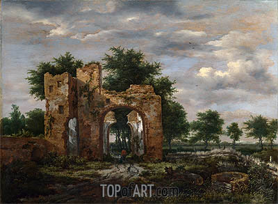 Ruisdael | A Ruined Castle Gateway, c.1650/55