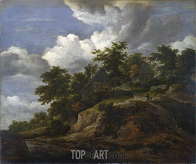 A Rocky Hill with Three Cottages a Stream at its Foot, c.1650/60 | Ruisdael | Gemälde Reproduktion