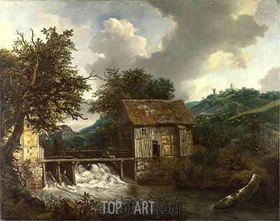 Two Watermills and an Open Sluice at Singraven, c.1650/52 | Ruisdael | Painting Reproduction