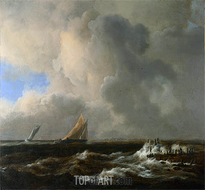 Vessels in a Fresh Breeze, c.1660/65 | Ruisdael | Painting Reproduction