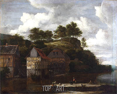 Three Watermills with Washerwomen, c.1670 | Ruisdael| Gemälde Reproduktion