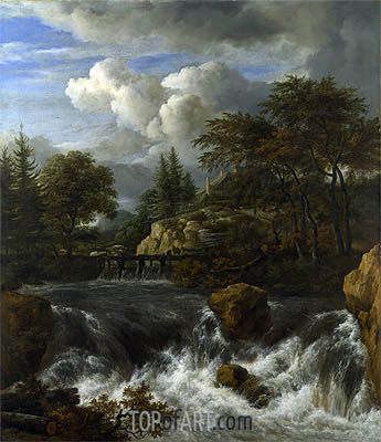 A Waterfall in a Rocky Landscape, c.1660/70 | Ruisdael | Gemälde Reproduktion