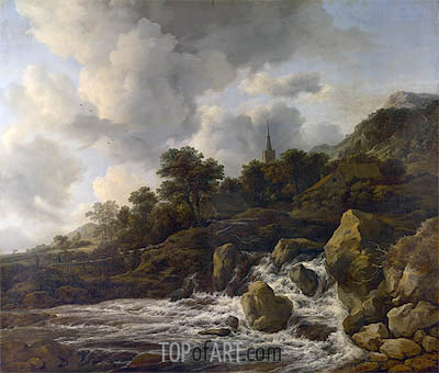 Ruisdael | A Waterfall at the Foot of a Hill near a Village, c.1665/75