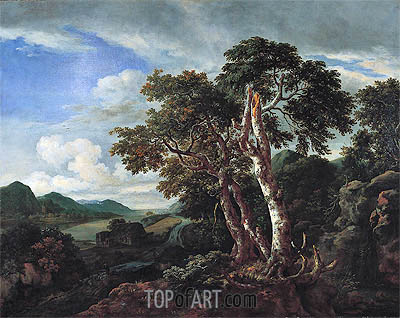 Three Great Trees in a Mountainous Landscape with a River, c.1665/70 | Ruisdael | Painting Reproduction
