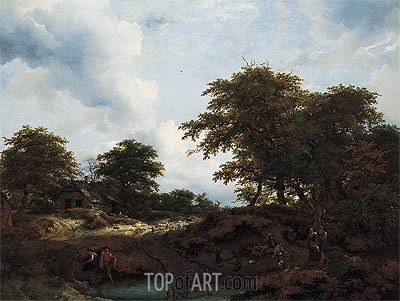 Ruisdael | Woody Landscape with a Pool and Figures, c.1660