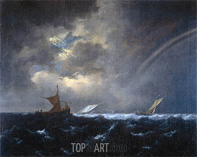 Ship in Rough Sea, 1655 | Ruisdael| Painting Reproduction